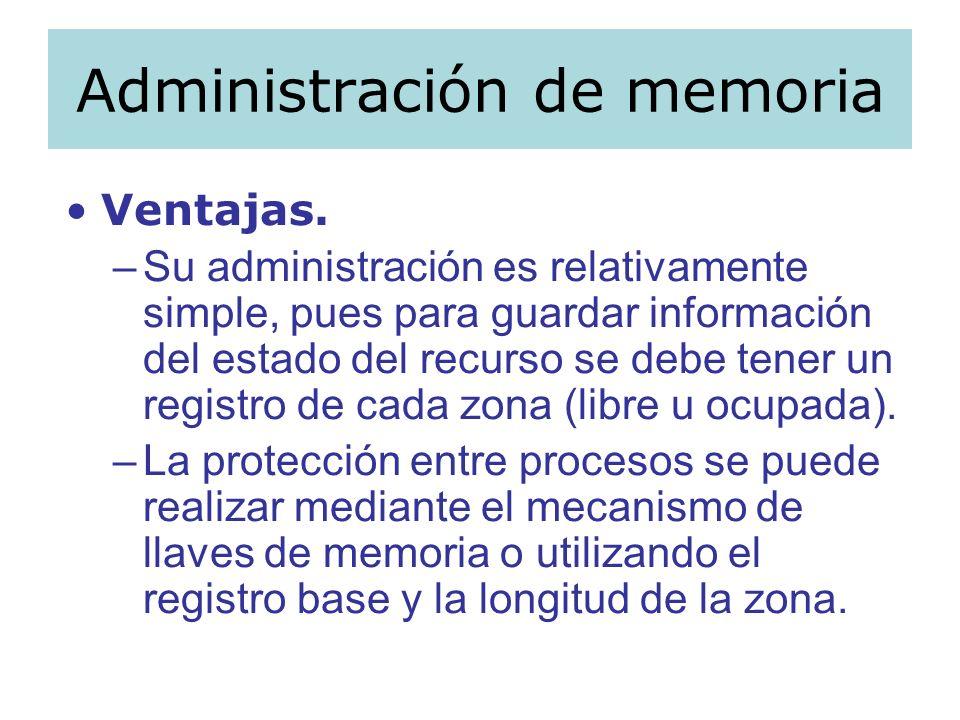 Administración de memoria Ventajas. –Su administración es relativamente simple, pues para guardar información del estado del recurso se debe tener un