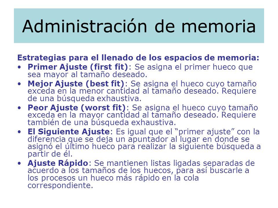 Administración de memoria Estrategias para el llenado de los espacios de memoria: Primer Ajuste (first fit): Se asigna el primer hueco que sea mayor a