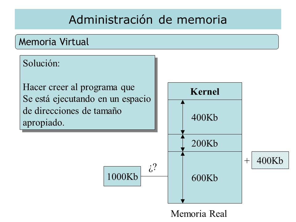 Administración de memoria Memoria Virtual Solución: Hacer creer al programa que Se está ejecutando en un espacio de direcciones de tamaño apropiado. S