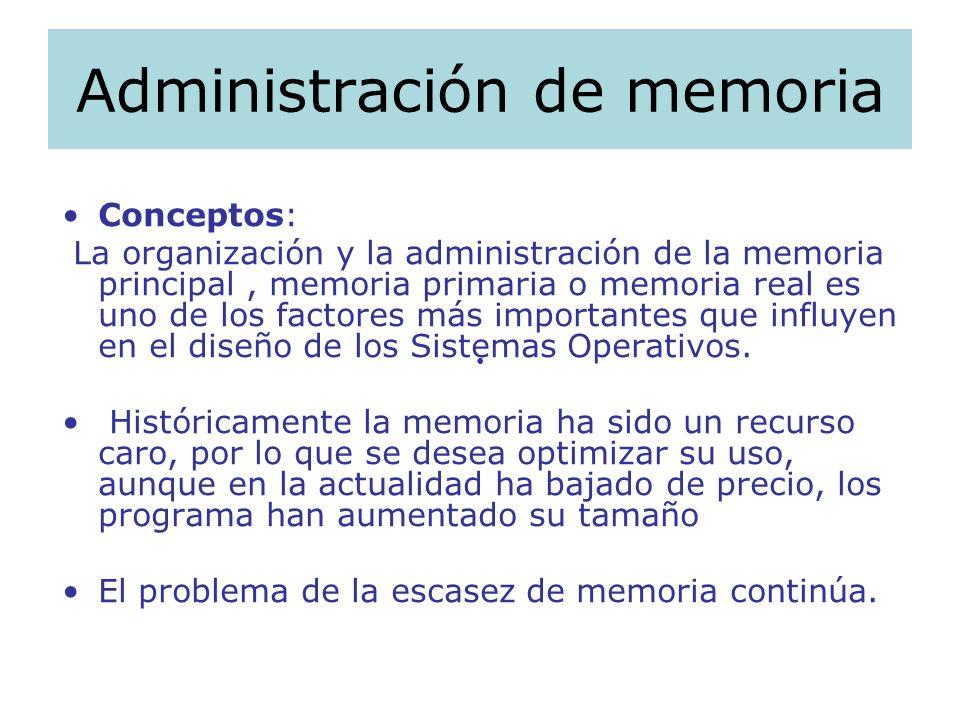Administración de memoria Conceptos: La organización y la administración de la memoria principal, memoria primaria o memoria real es uno de los factor