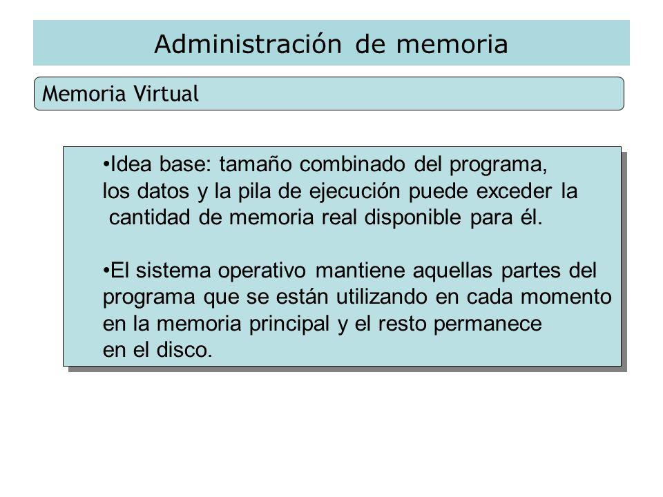 Administración de memoria Memoria Virtual Idea base: tamaño combinado del programa, los datos y la pila de ejecución puede exceder la cantidad de memo