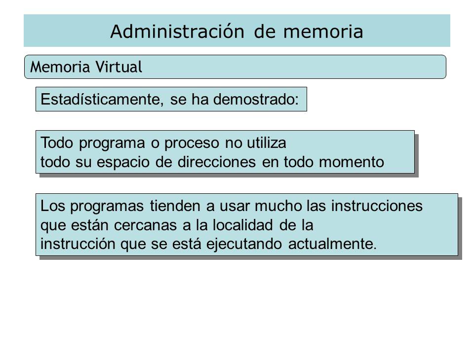 Administración de memoria Memoria Virtual Todo programa o proceso no utiliza todo su espacio de direcciones en todo momento Todo programa o proceso no