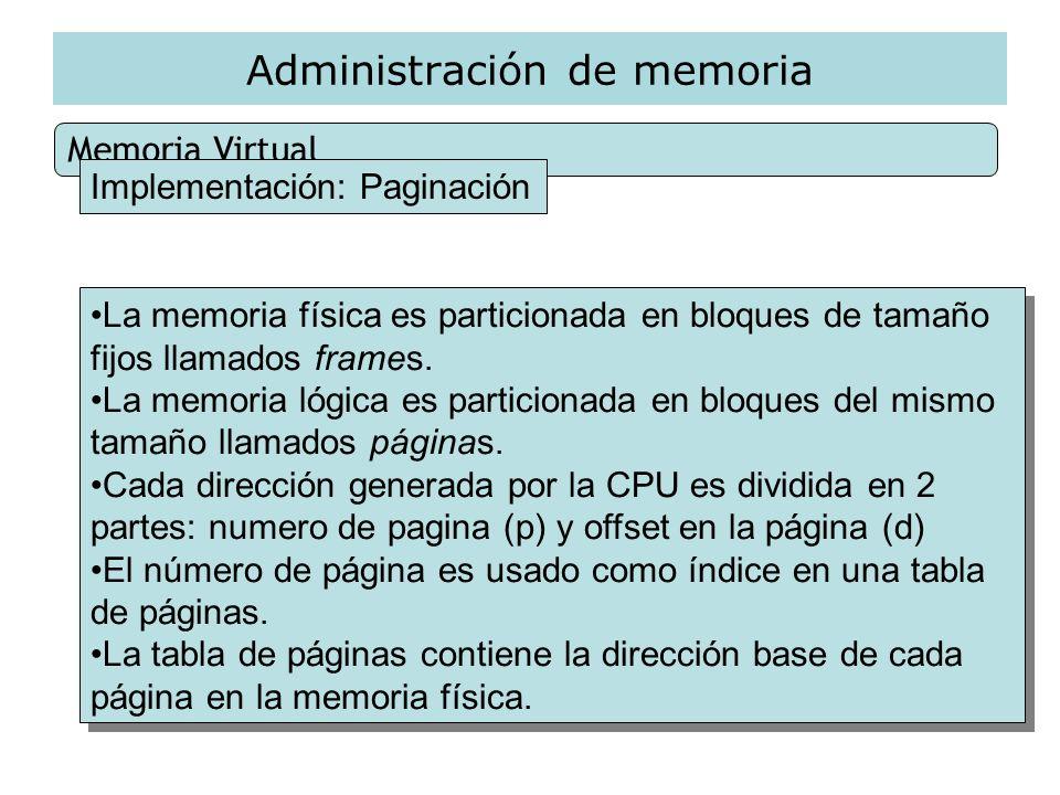 Administración de memoria Memoria Virtual Implementación: Paginación La memoria física es particionada en bloques de tamaño fijos llamados frames. La