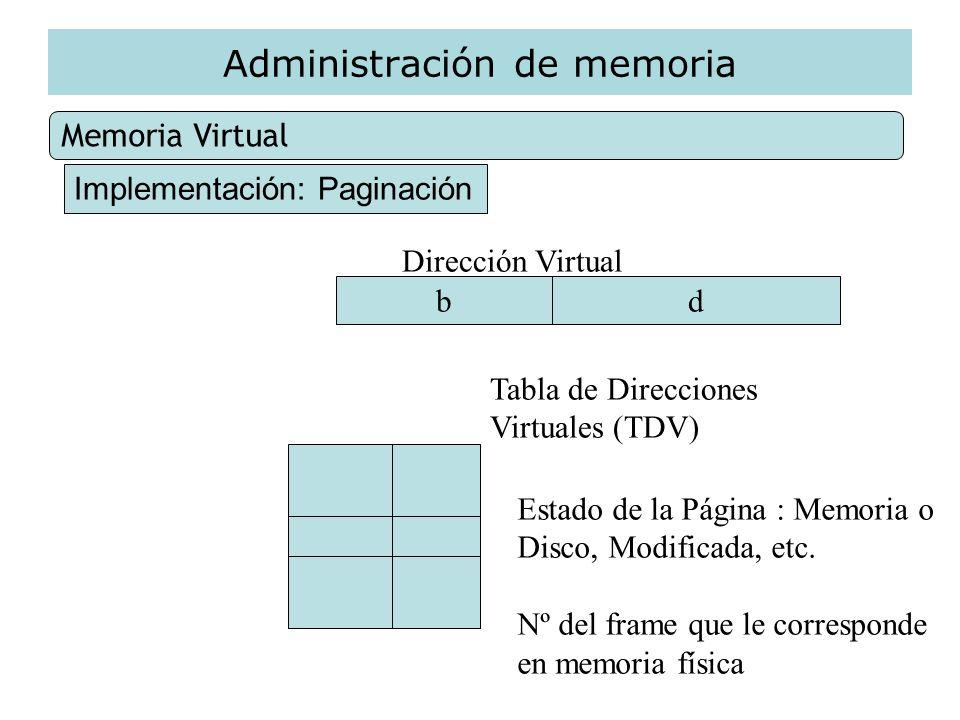 Administración de memoria Memoria Virtual Implementación: Paginación Dirección Virtual bd Tabla de Direcciones Virtuales (TDV) Estado de la Página : M