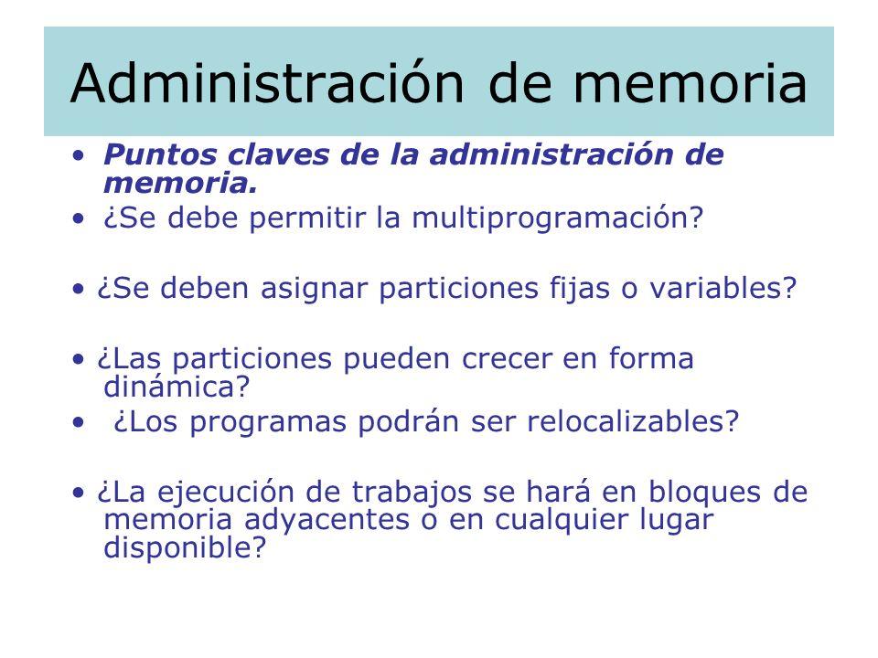 Administración de memoria Puntos claves de la administración de memoria. ¿Se debe permitir la multiprogramación? ¿Se deben asignar particiones fijas o
