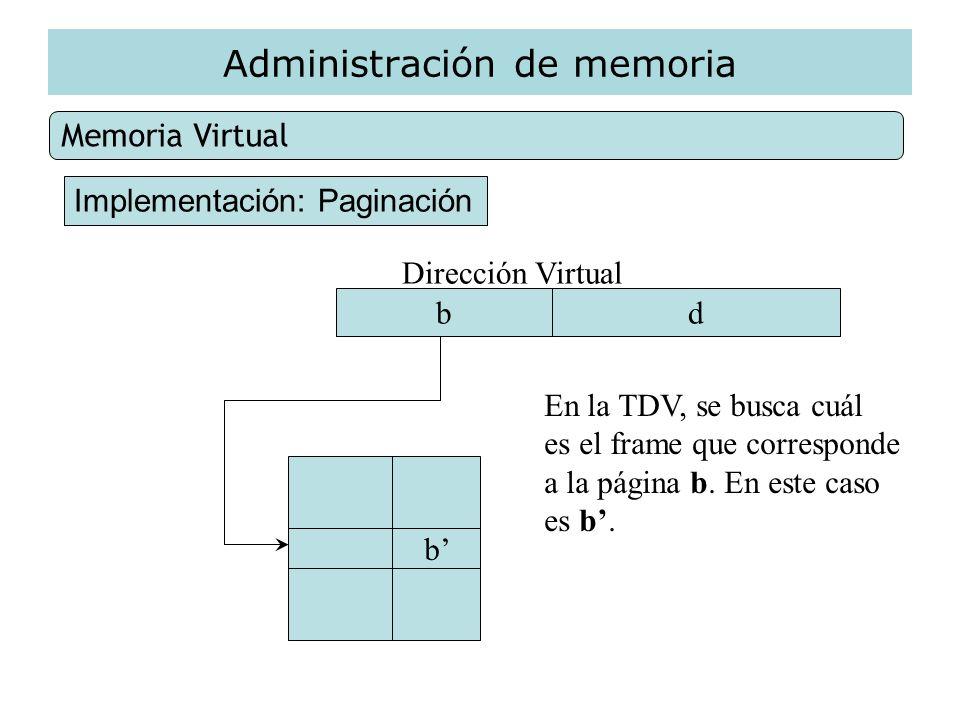 Administración de memoria Memoria Virtual Implementación: Paginación Dirección Virtual bd b En la TDV, se busca cuál es el frame que corresponde a la