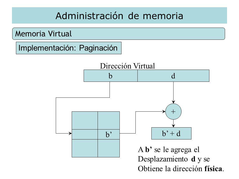 Administración de memoria Memoria Virtual Implementación: Paginación Dirección Virtual bd b + A b se le agrega el Desplazamiento d y se Obtiene la dir
