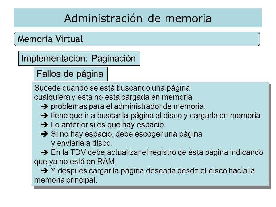 Administración de memoria Memoria Virtual Implementación: Paginación Fallos de página Sucede cuando se está buscando una página cualquiera y ésta no e