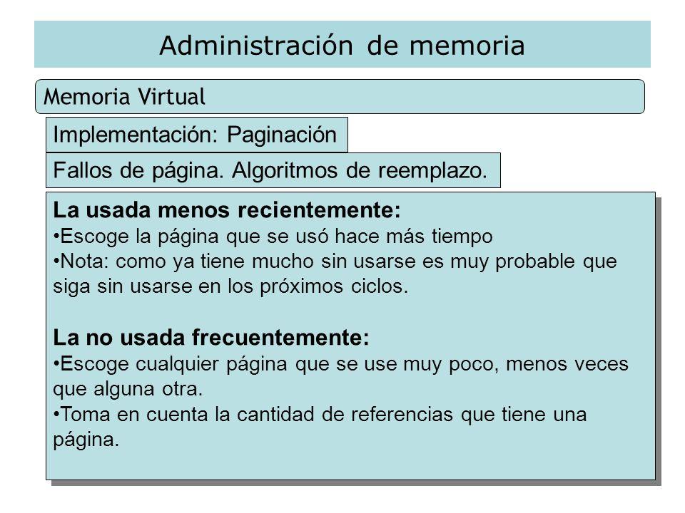 Administración de memoria Memoria Virtual Implementación: Paginación Fallos de página. Algoritmos de reemplazo. La usada menos recientemente: Escoge l