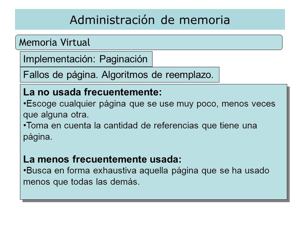 Administración de memoria Memoria Virtual Implementación: Paginación Fallos de página. Algoritmos de reemplazo. La no usada frecuentemente: Escoge cua