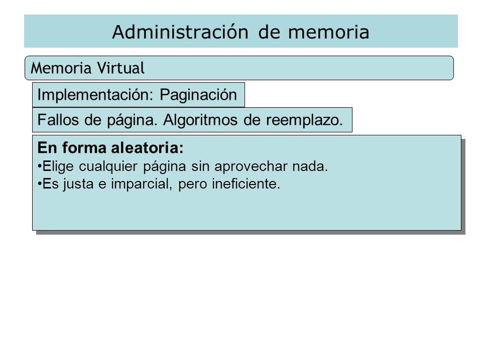 Administración de memoria Memoria Virtual Implementación: Paginación Fallos de página. Algoritmos de reemplazo. En forma aleatoria: Elige cualquier pá