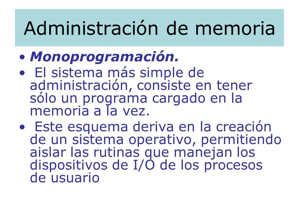 Administración de memoria Monoprogramación. El sistema más simple de administración, consiste en tener sólo un programa cargado en la memoria a la vez