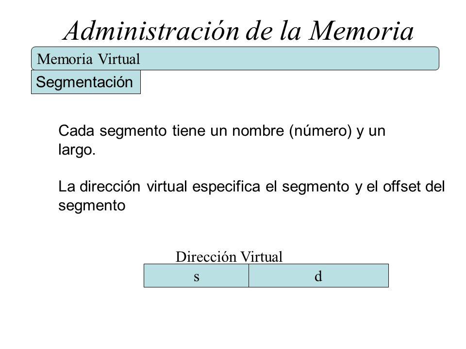 Administración de la Memoria Memoria Virtual Segmentación Cada segmento tiene un nombre (número) y un largo. La dirección virtual especifica el segmen