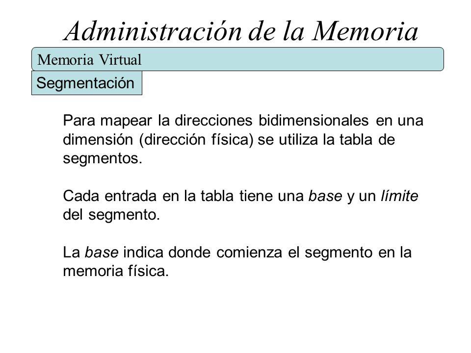 Administración de la Memoria Memoria Virtual Segmentación Para mapear la direcciones bidimensionales en una dimensión (dirección física) se utiliza la