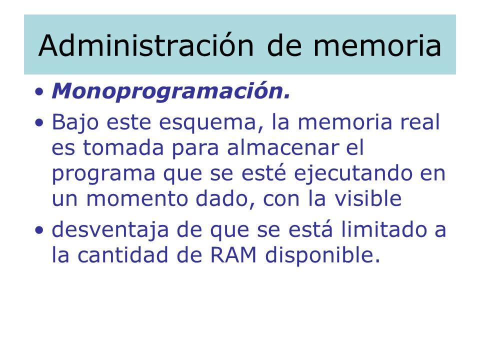 Administración de memoria Monoprogramación. Bajo este esquema, la memoria real es tomada para almacenar el programa que se esté ejecutando en un momen