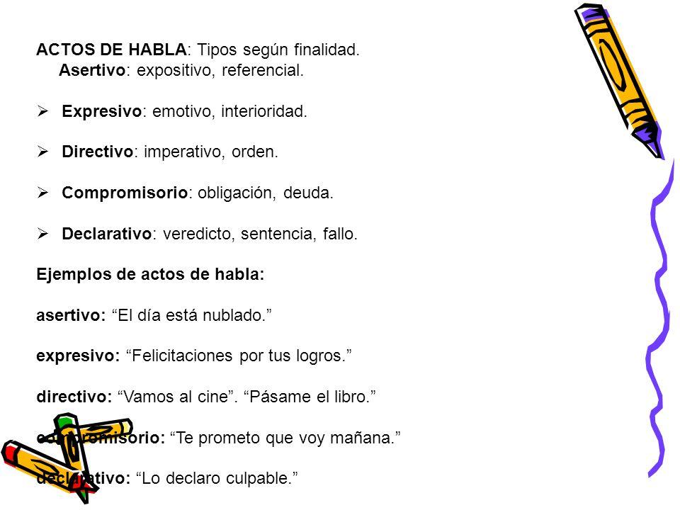 ACTOS DE HABLA: Tipos según finalidad. Asertivo: expositivo, referencial. Expresivo: emotivo, interioridad. Directivo: imperativo, orden. Compromisori