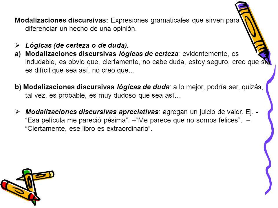 Modalizaciones discursivas: Expresiones gramaticales que sirven para diferenciar un hecho de una opinión. Lógicas (de certeza o de duda). a)Modalizaci