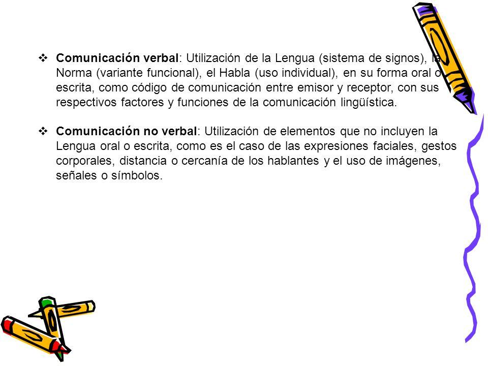 Comunicación verbal: Utilización de la Lengua (sistema de signos), la Norma (variante funcional), el Habla (uso individual), en su forma oral o escrit