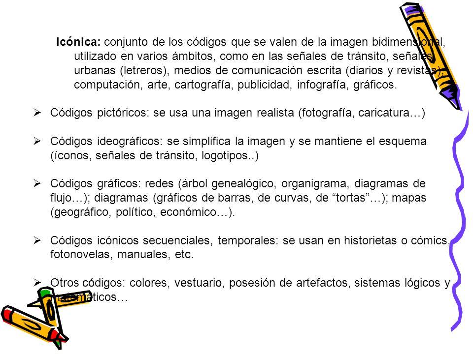 Icónica: conjunto de los códigos que se valen de la imagen bidimensional, utilizado en varios ámbitos, como en las señales de tránsito, señales urbana