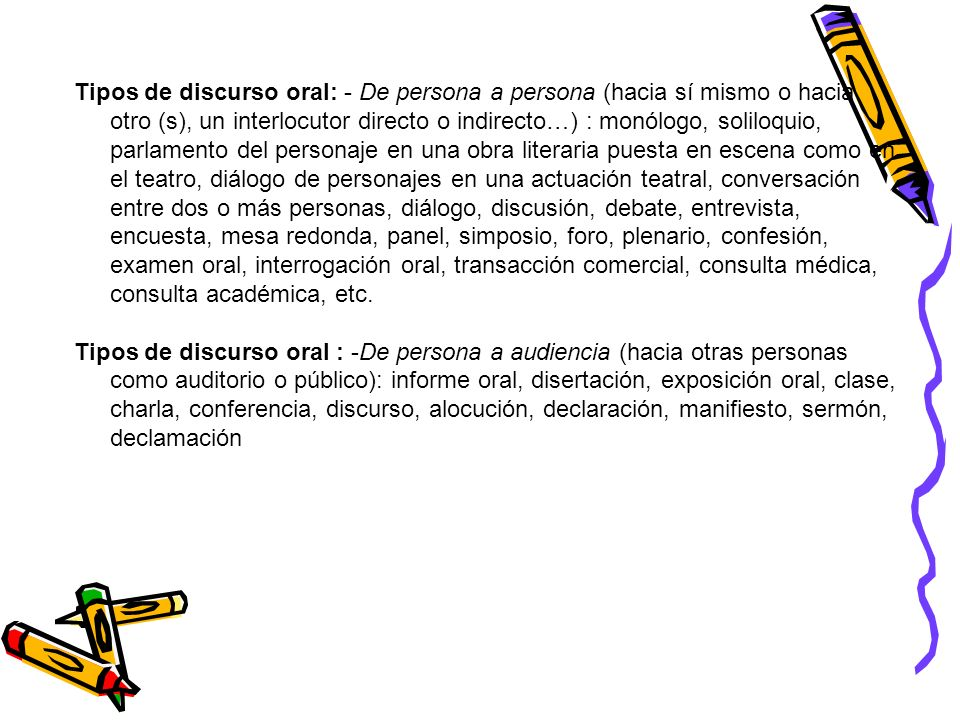 Tipos de discurso oral: - De persona a persona (hacia sí mismo o hacia otro (s), un interlocutor directo o indirecto…) : monólogo, soliloquio, parlame