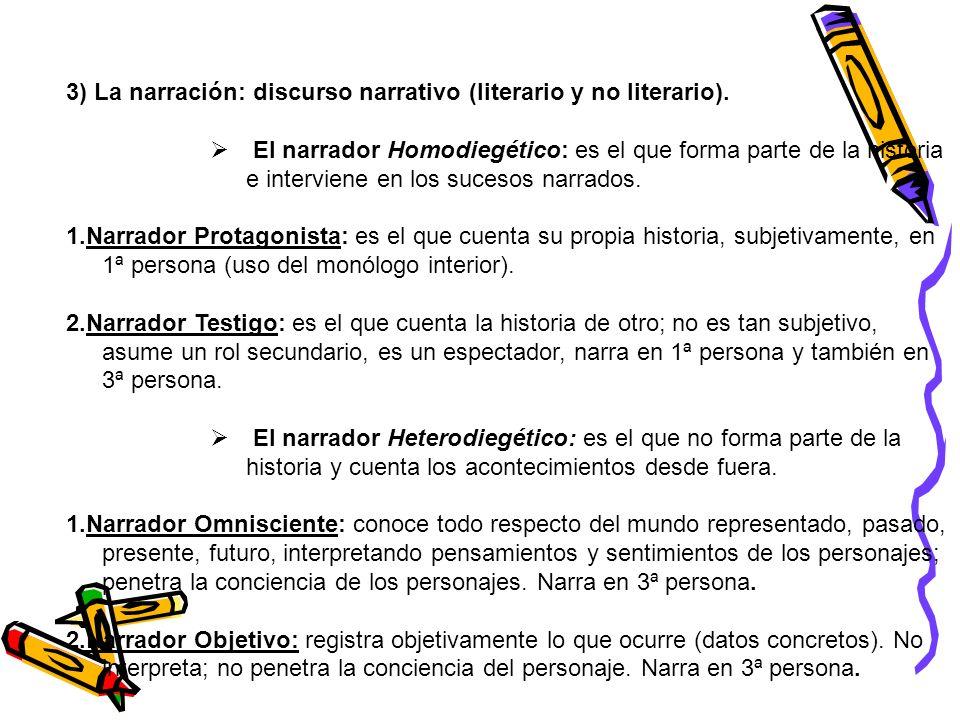3) La narración: discurso narrativo (literario y no literario). El narrador Homodiegético: es el que forma parte de la historia e interviene en los su