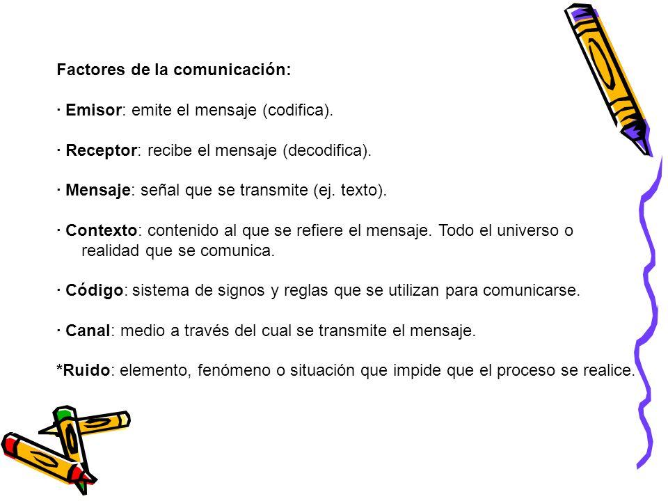 Factores de la comunicación: · Emisor: emite el mensaje (codifica). · Receptor: recibe el mensaje (decodifica). · Mensaje: señal que se transmite (ej.