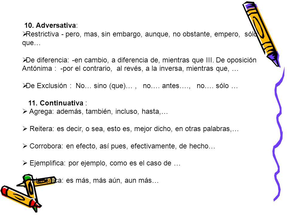 10. Adversativa: Restrictiva - pero, mas, sin embargo, aunque, no obstante, empero, sólo que… De diferencia: -en cambio, a diferencia de, mientras que