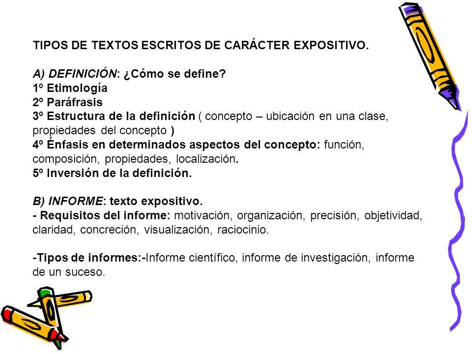 TIPOS DE TEXTOS ESCRITOS DE CARÁCTER EXPOSITIVO. A) DEFINICIÓN: ¿Cómo se define? 1º Etimología 2º Paráfrasis 3º Estructura de la definición ( concepto