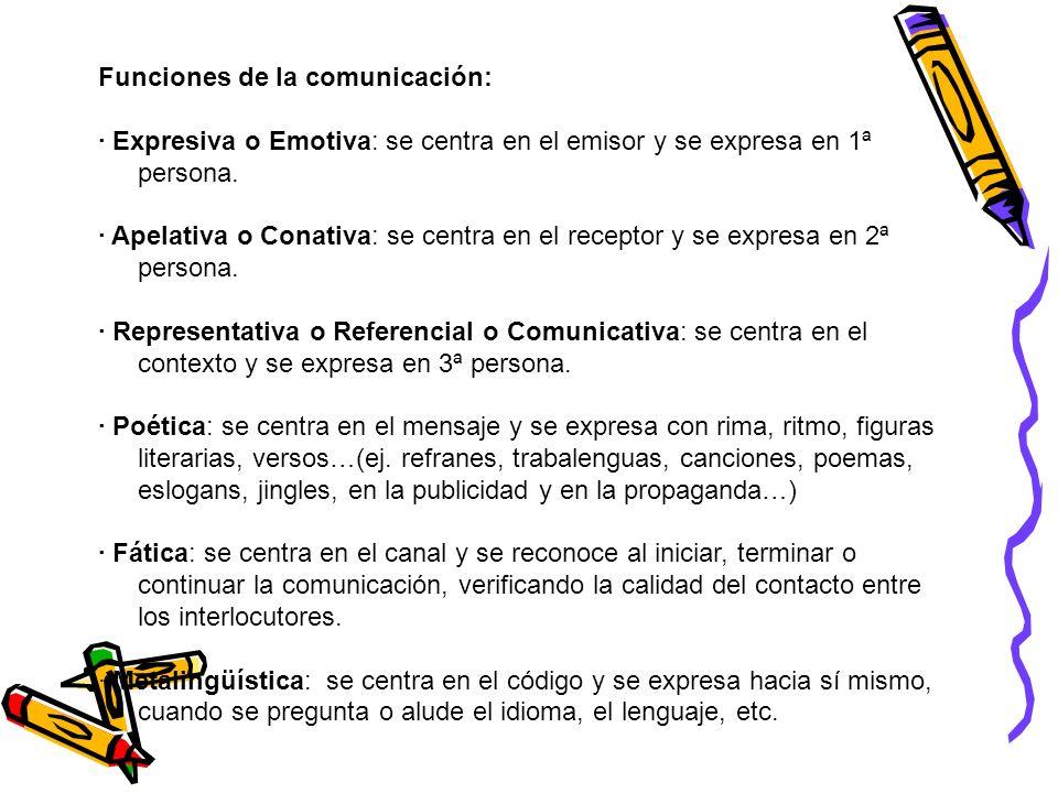 Funciones de la comunicación: · Expresiva o Emotiva: se centra en el emisor y se expresa en 1ª persona. · Apelativa o Conativa: se centra en el recept