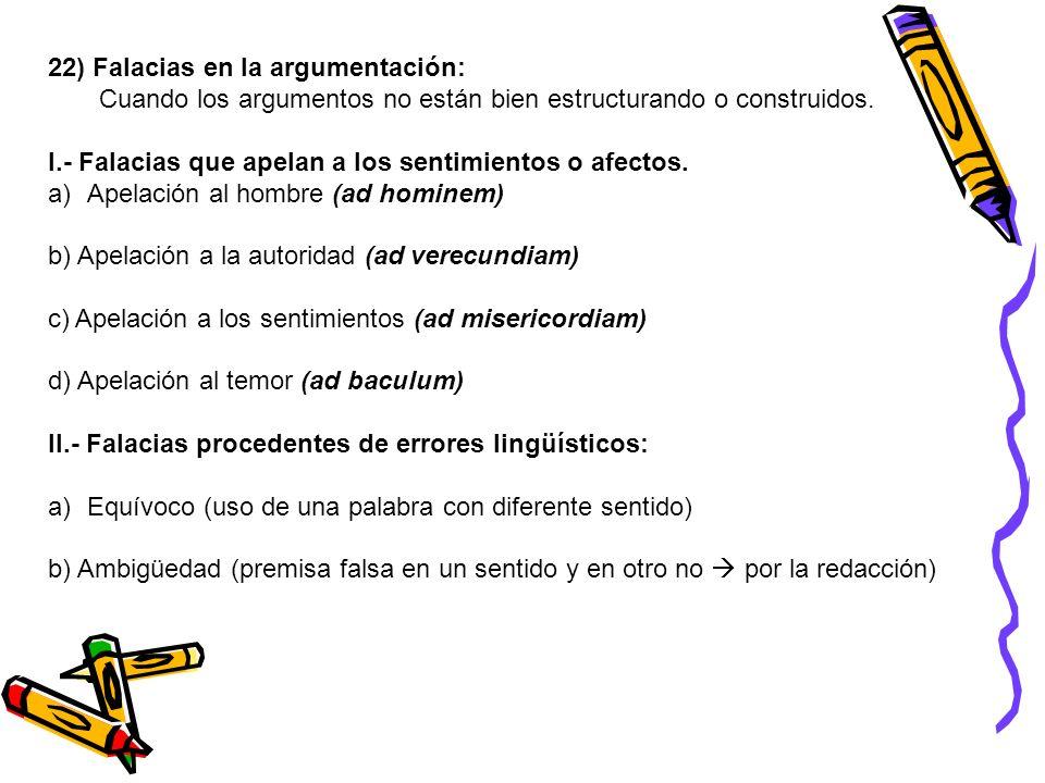 22) Falacias en la argumentación: Cuando los argumentos no están bien estructurando o construidos. I.- Falacias que apelan a los sentimientos o afecto