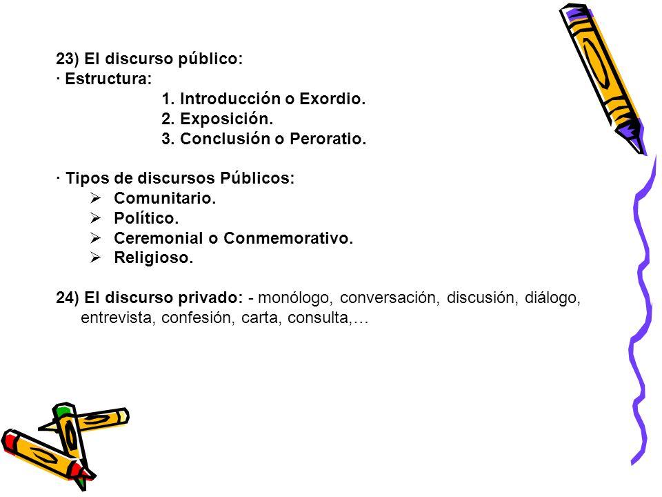 23) El discurso público: · Estructura: 1. Introducción o Exordio. 2. Exposición. 3. Conclusión o Peroratio. · Tipos de discursos Públicos: Comunitario