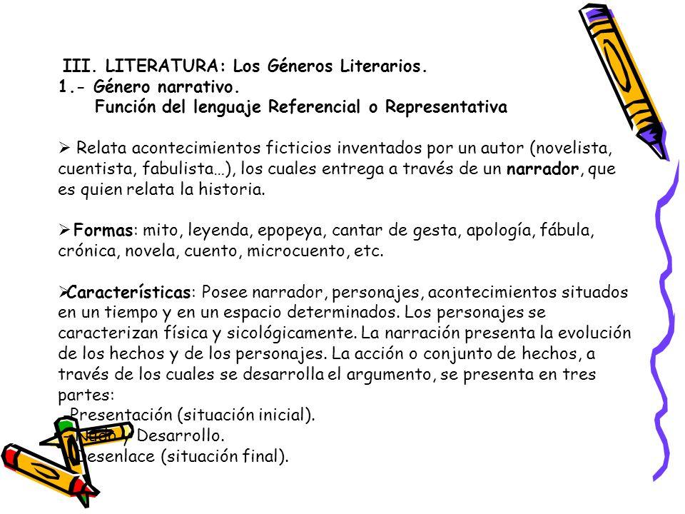 III. LITERATURA: Los Géneros Literarios. 1.- Género narrativo. Función del lenguaje Referencial o Representativa Relata acontecimientos ficticios inve