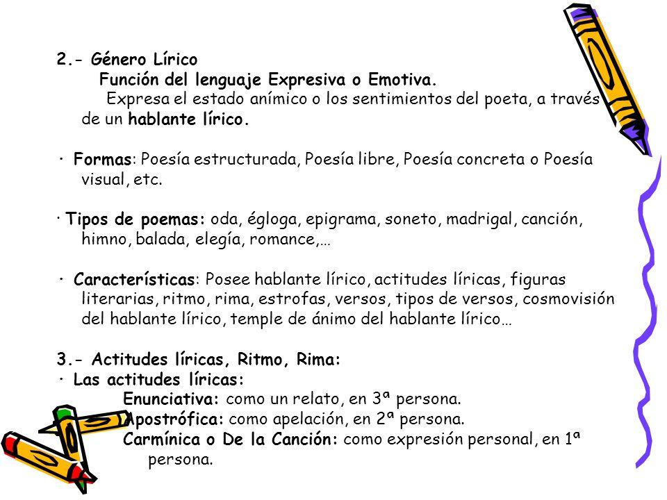 2.- Género Lírico Función del lenguaje Expresiva o Emotiva. Expresa el estado anímico o los sentimientos del poeta, a través de un hablante lírico. ·
