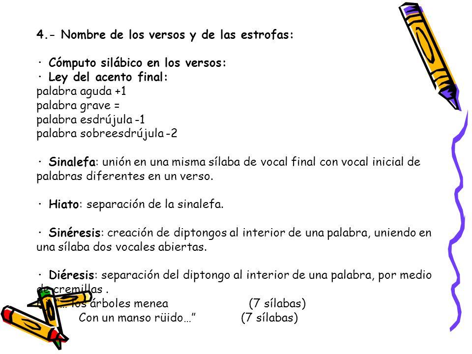 4.- Nombre de los versos y de las estrofas: · Cómputo silábico en los versos: · Ley del acento final: palabra aguda +1 palabra grave = palabra esdrúju
