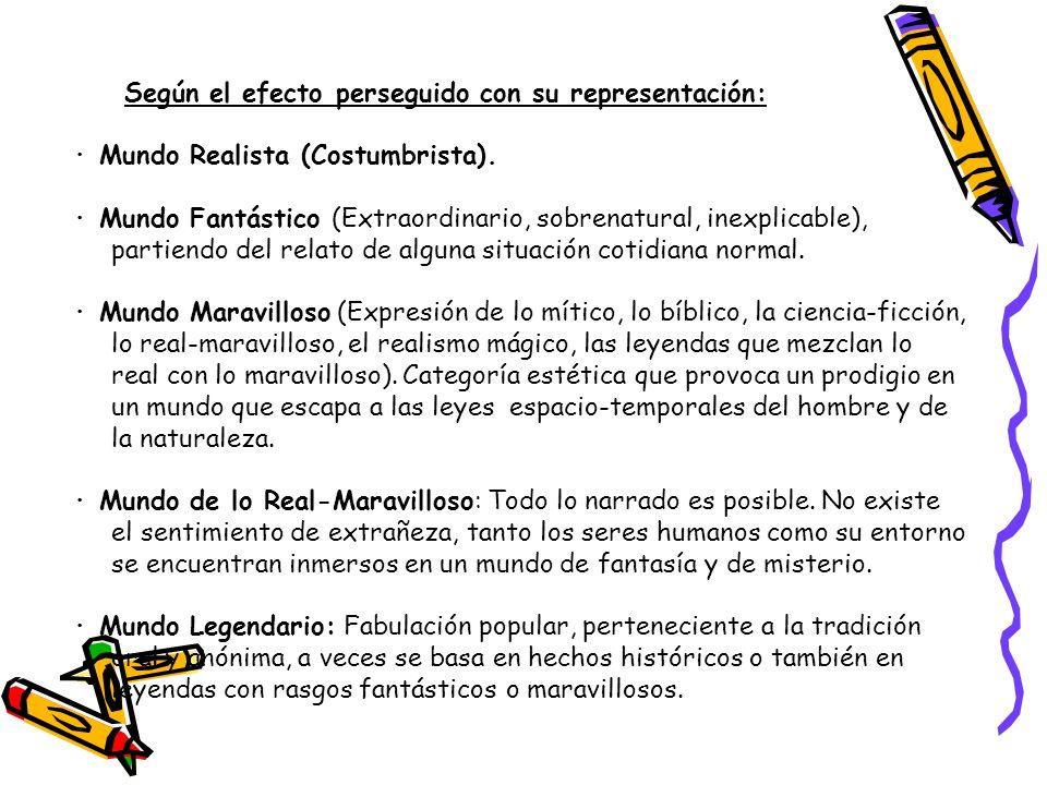 Según el efecto perseguido con su representación: · Mundo Realista (Costumbrista). · Mundo Fantástico (Extraordinario, sobrenatural, inexplicable), pa