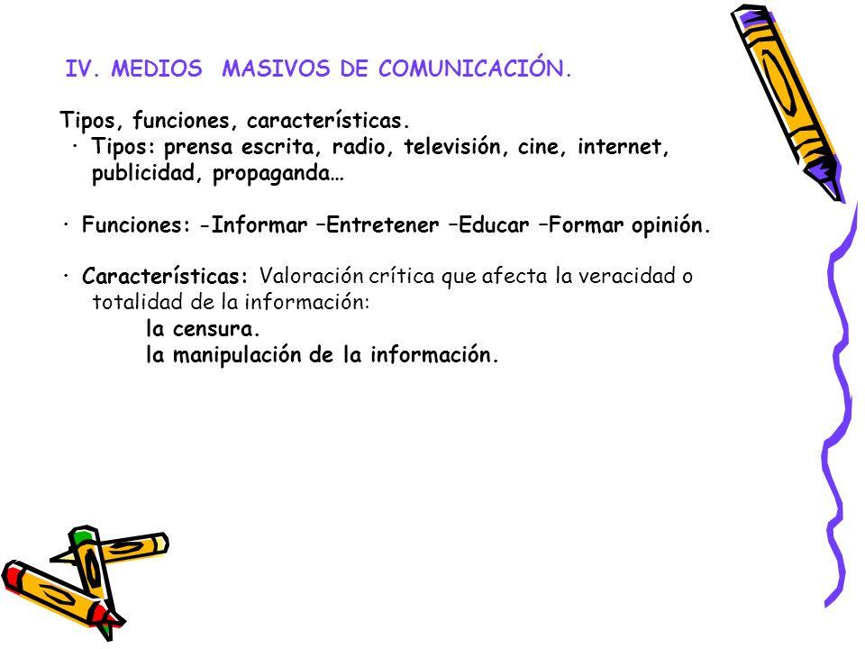 IV. MEDIOS MASIVOS DE COMUNICACIÓN. Tipos, funciones, características. · Tipos: prensa escrita, radio, televisión, cine, internet, publicidad, propaga
