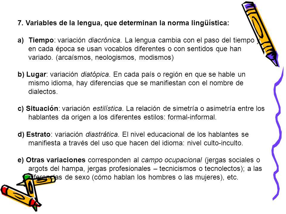 7. Variables de la lengua, que determinan la norma lingüística: a)Tiempo: variación diacrónica. La lengua cambia con el paso del tiempo y en cada époc