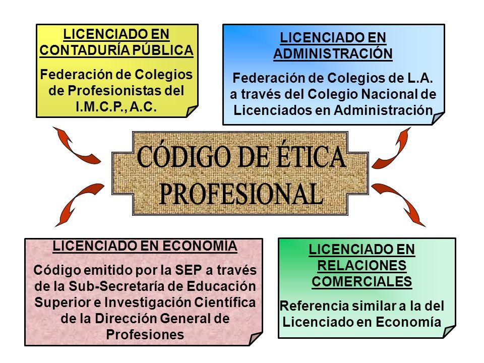 LICENCIADO EN CONTADURÍA PÚBLICA Federación de Colegios de Profesionistas del I.M.C.P., A.C. LICENCIADO EN ADMINISTRACIÓN Federación de Colegios de L.