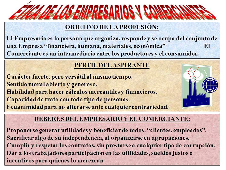 OBJETIVO DE LA PROFESIÒN: El Empresario es la persona que organiza, responde y se ocupa del conjunto de una Empresa financiera, humana, materiales, ec