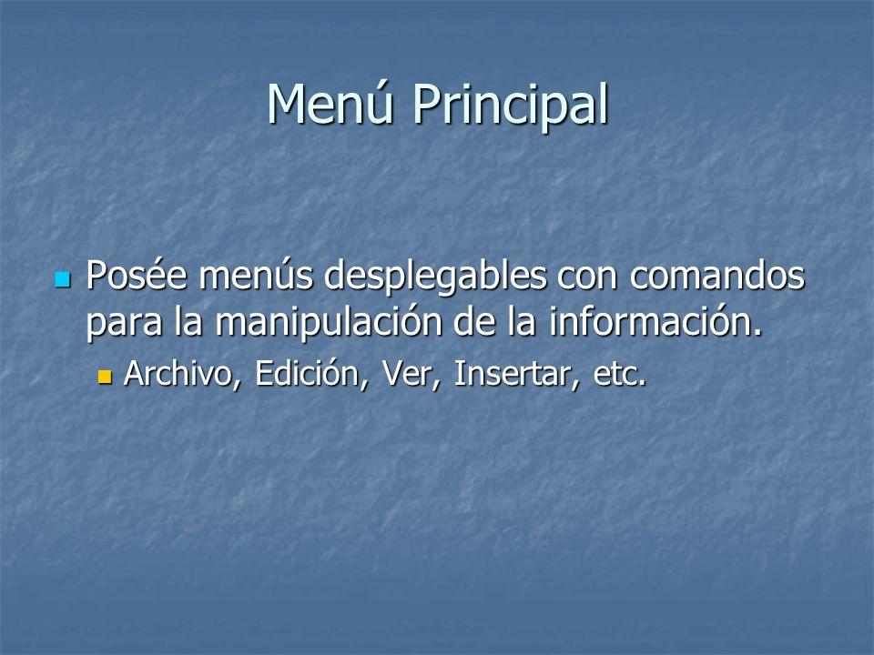 Menú Principal Posée menús desplegables con comandos para la manipulación de la información. Posée menús desplegables con comandos para la manipulació