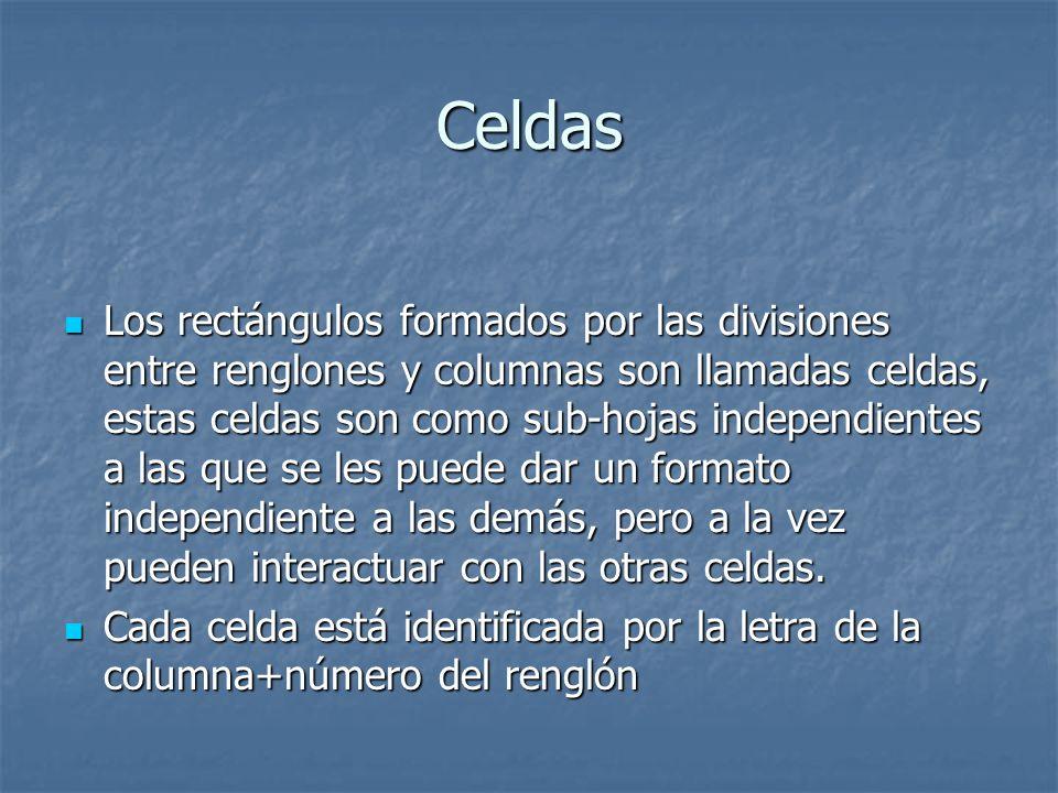 Celdas Los rectángulos formados por las divisiones entre renglones y columnas son llamadas celdas, estas celdas son como sub-hojas independientes a la