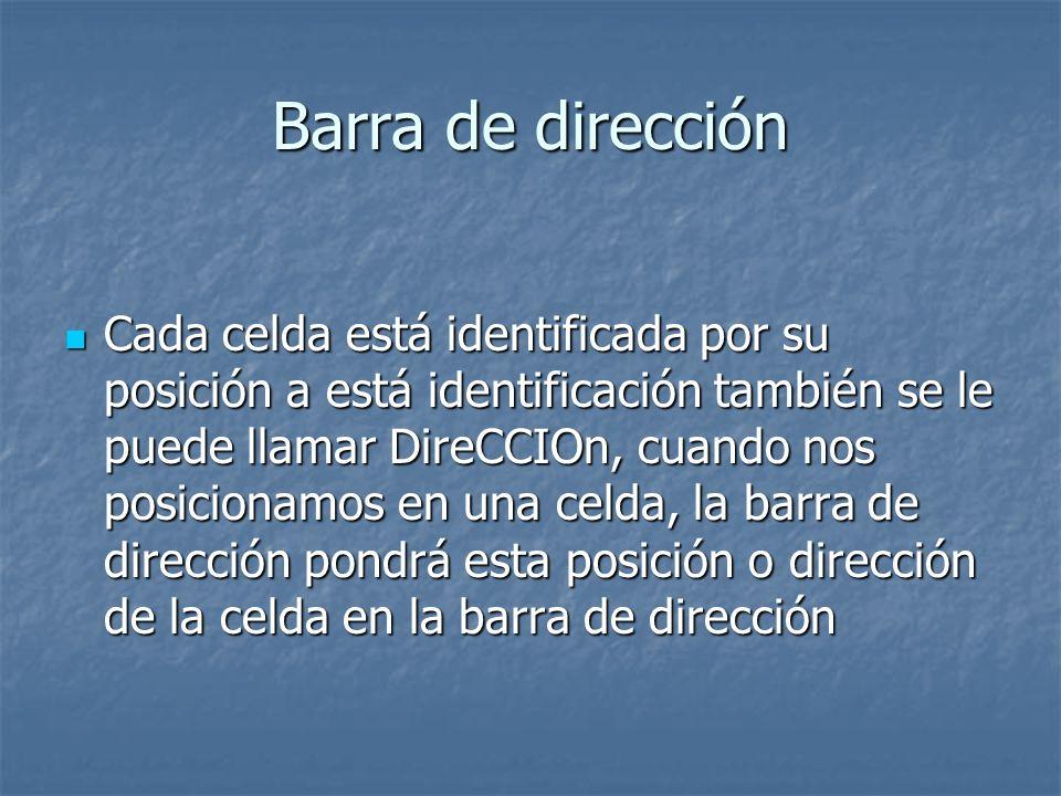 Barra de dirección Cada celda está identificada por su posición a está identificación también se le puede llamar DireCCIOn, cuando nos posicionamos en