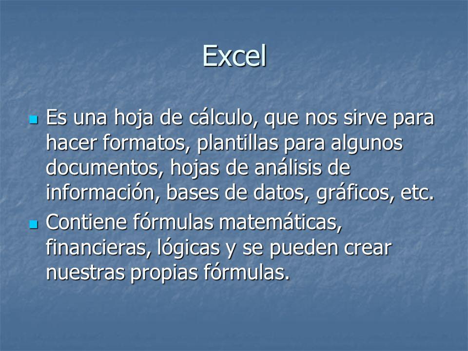 Excel Es una hoja de cálculo, que nos sirve para hacer formatos, plantillas para algunos documentos, hojas de análisis de información, bases de datos,