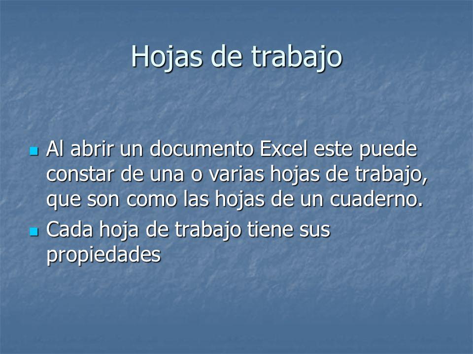 Hojas de trabajo Al abrir un documento Excel este puede constar de una o varias hojas de trabajo, que son como las hojas de un cuaderno. Al abrir un d