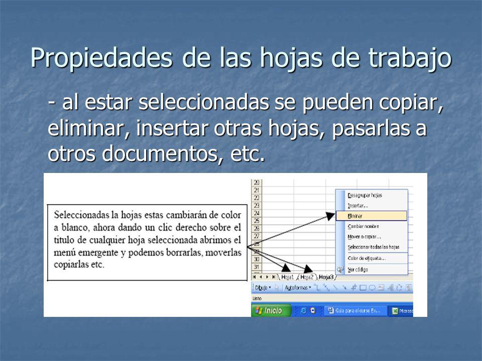 Propiedades de las hojas de trabajo - al estar seleccionadas se pueden copiar, eliminar, insertar otras hojas, pasarlas a otros documentos, etc.