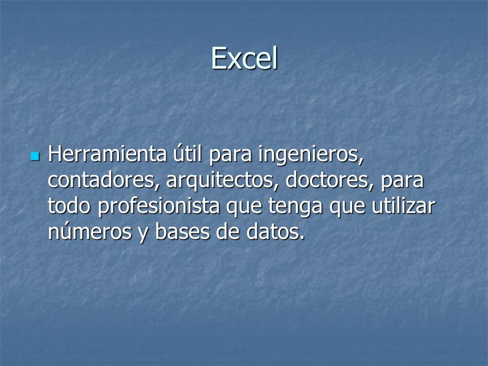 Excel Herramienta útil para ingenieros, contadores, arquitectos, doctores, para todo profesionista que tenga que utilizar números y bases de datos. He