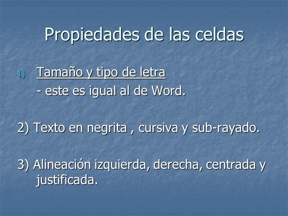 Propiedades de las celdas 1) Tamaño y tipo de letra - este es igual al de Word. 2) Texto en negrita, cursiva y sub-rayado. 3) Alineación izquierda, de
