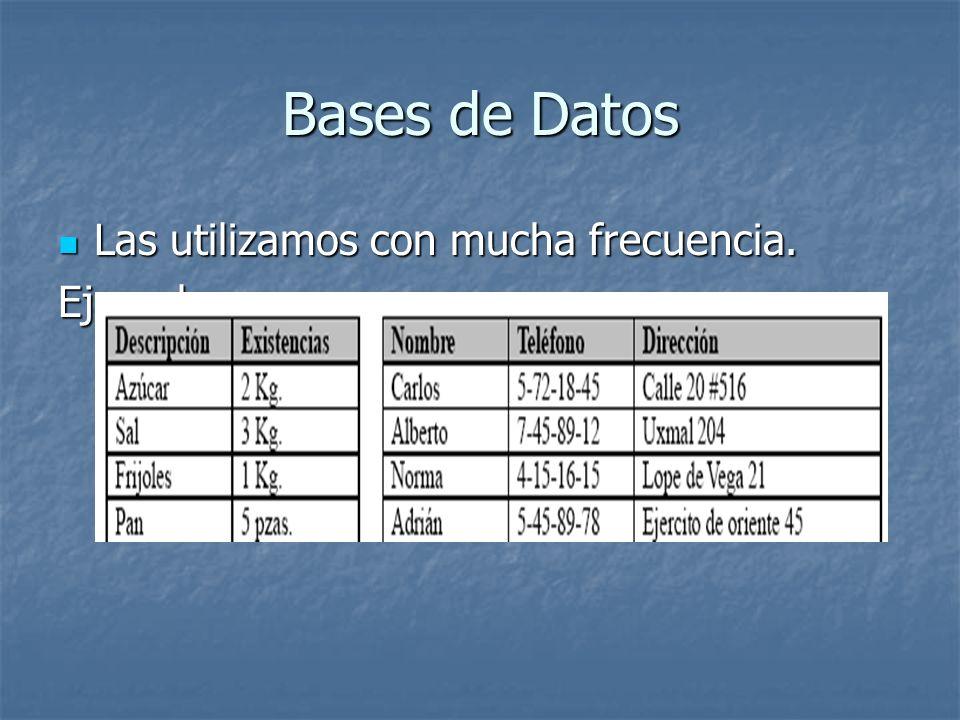 Bases de Datos Las utilizamos con mucha frecuencia. Las utilizamos con mucha frecuencia.Ejemplos: