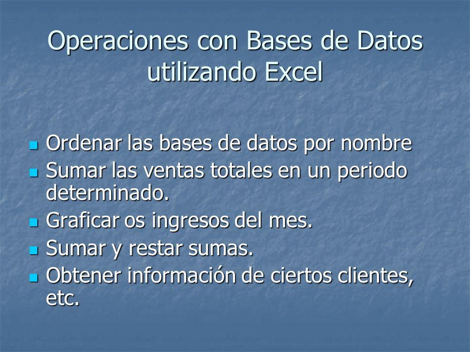Operaciones con Bases de Datos utilizando Excel Ordenar las bases de datos por nombre Ordenar las bases de datos por nombre Sumar las ventas totales e