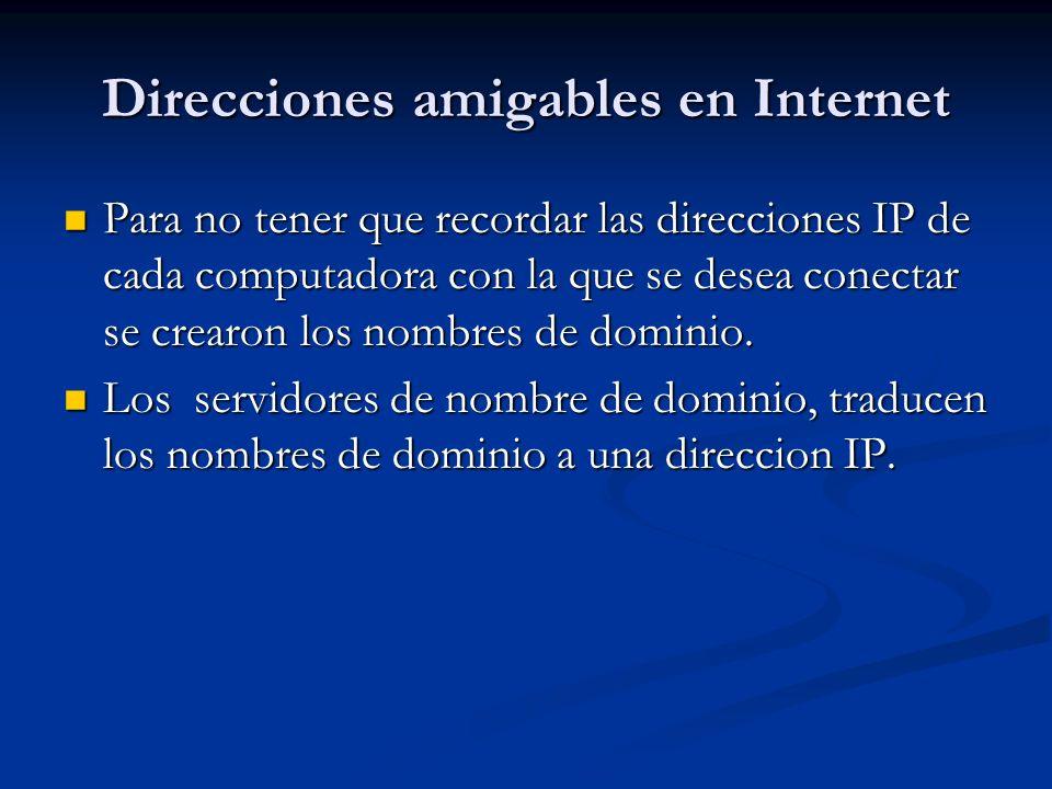 Direcciones amigables en Internet Para no tener que recordar las direcciones IP de cada computadora con la que se desea conectar se crearon los nombres de dominio.